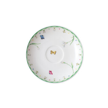 Colourful Spring espresso cup saucer, white/green