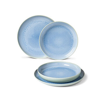 Crafted Blueberry dinner set, turquoise, 4 pieces