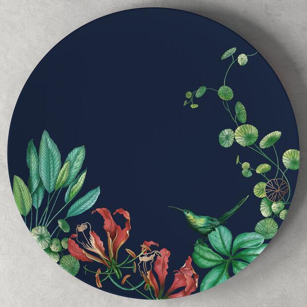 Avarua cake plate, 33 cm, blue/multicoloured, , large