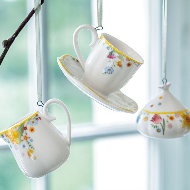 Spring Awakening coffee set ornaments, 3 pieces, yellow/multicoloured, , large