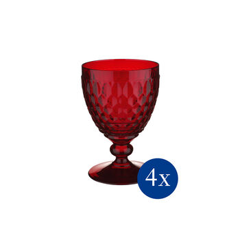 Boston coloured Red wine goblet red Set 4 pcs
