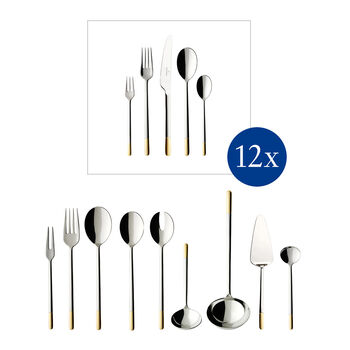 Ella partially gold-plated table cutlery, 70 pieces, for 12 people