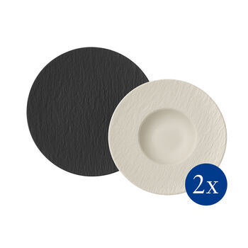Manufacture Rock pasta set, 4 pieces, for 2 people, black/white