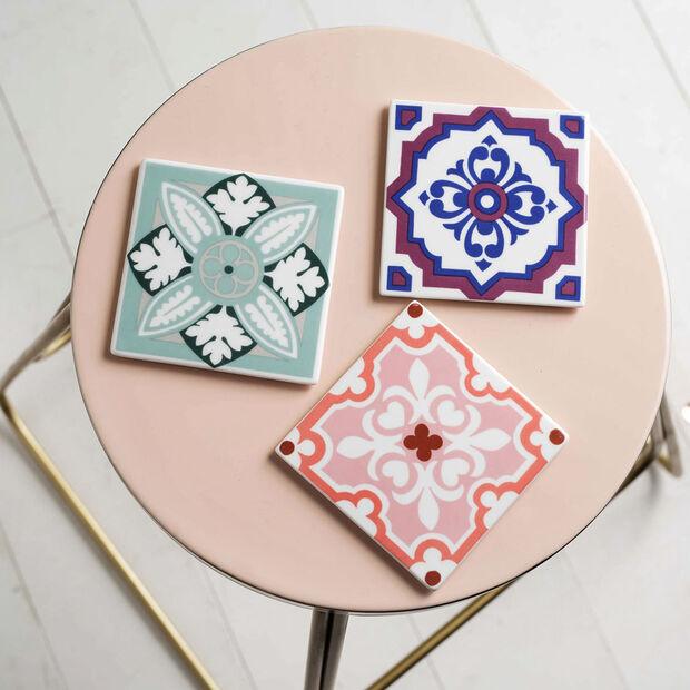Table Accessories Coaster Set 2pcs. Indigo Caro 11x11cm, , large