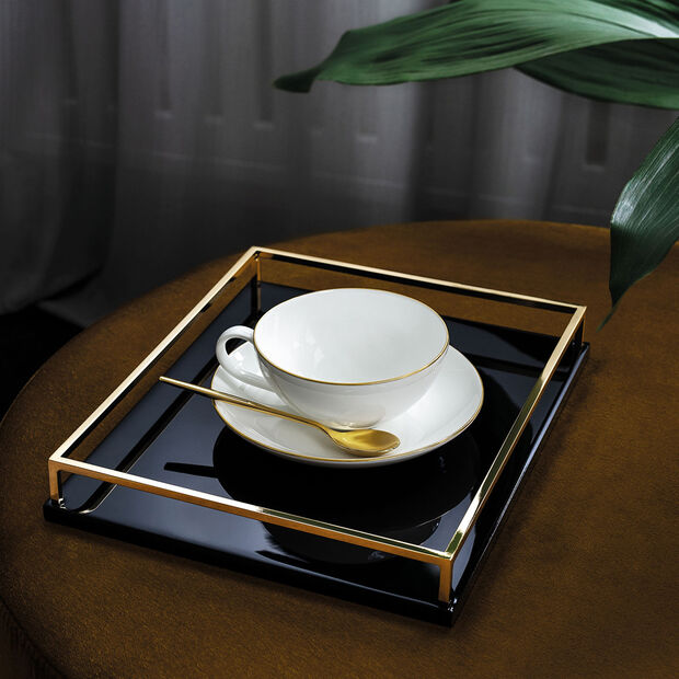 Anmut Gold tea cup saucer, 15 cm diameter, white/gold, , large