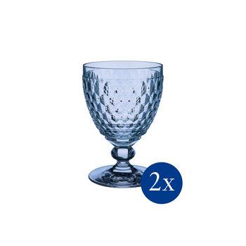 Boston coloured Red wine goblet blue Set 2pcs