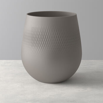 Manufacture Collier vase, 21 x 23 cm, Carré, Taupe