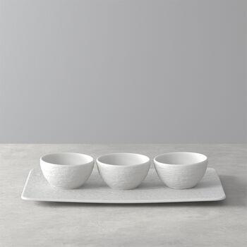 Manufacture Rock Blanc dip bowl set, white, 4 pieces