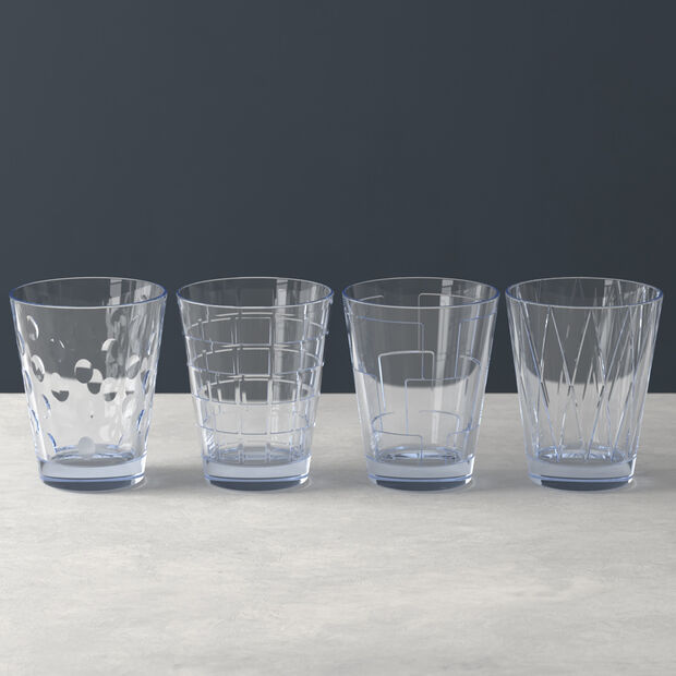 Dressed Up water glass 4-piece set Blue, , large