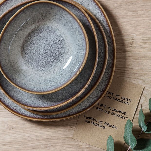 Lave Beige small flat bowl, beige, 22 x 21 x 4.2 cm, , large
