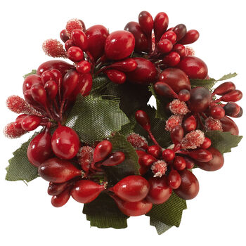 Winter Collage Accessories napkin ring red berries, red, 6 cm