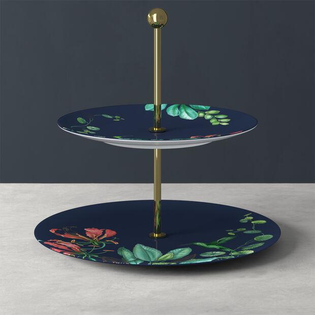 Avarua Gifts cake stand, 27.5 x 26.7 cm, blue/multicoloured, , large