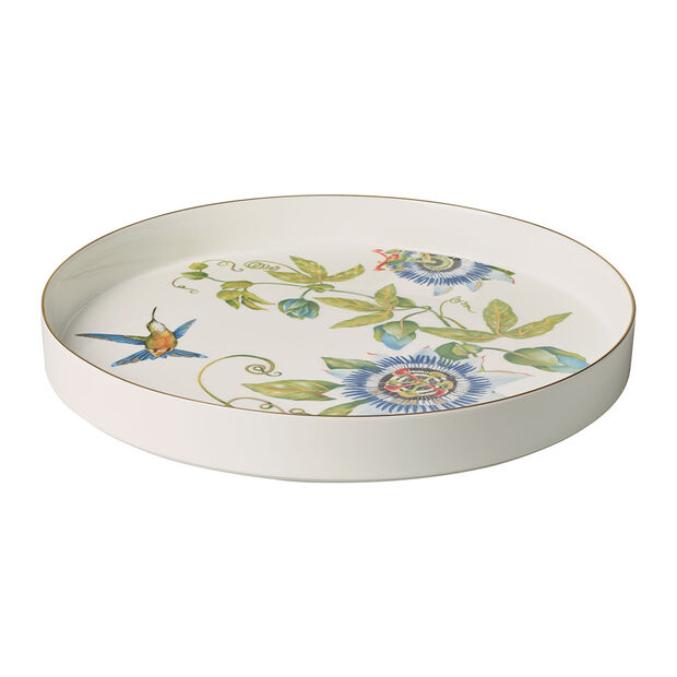 Amazonia serving/decorative bowl, 33 cm diameter, 4 cm deep, white/multi-coloured, , large
