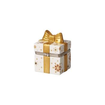 Christmas Toy's square gift box, gold/white, 7 x 6 x 9 cm