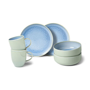 Crafted Blueberry breakfast set, turquoise, 6 pieces