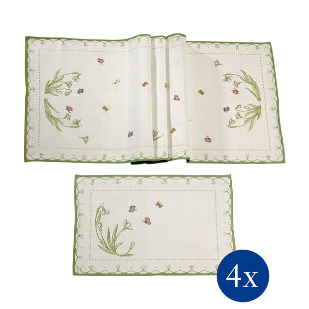 Colourful Spring Table linen set, snowdrops, 5pcs, , large