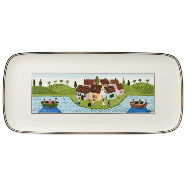 Charm & Breakfast Design Naif rectangular cake plate 35 x 16 cm, , large