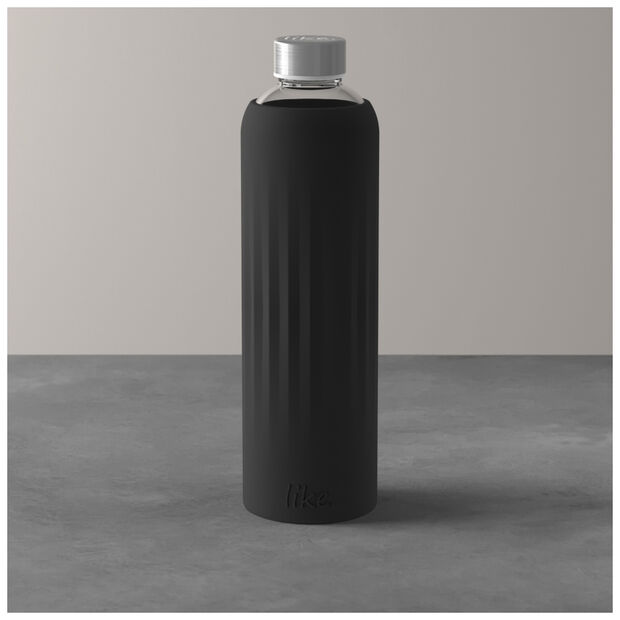 ToGo&ToStay glass bottle, 1 l, with silicone sleeve, black, , large