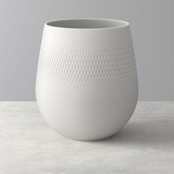 Manufacture Collier blanc Vase Carré large 20,5x20,5x22,5cm
