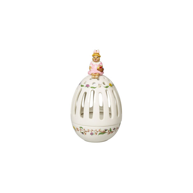 Bunny Tales tea light holder egg Anna, 16 cm, multicoloured, , large