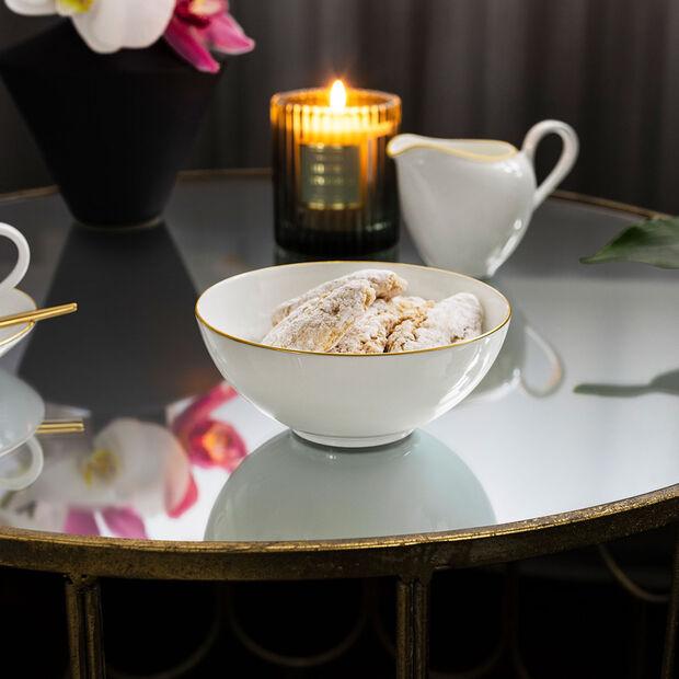 Anmut Gold dessert bowl, 13 cm diameter, white/gold, , large
