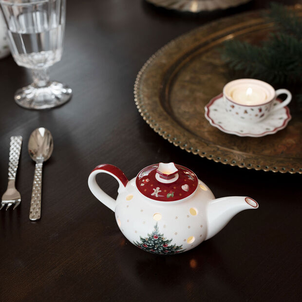 Toy's Delight Decoration tea light holder coffee pot, white/red, 16 x 9.5 x 9 cm, , large