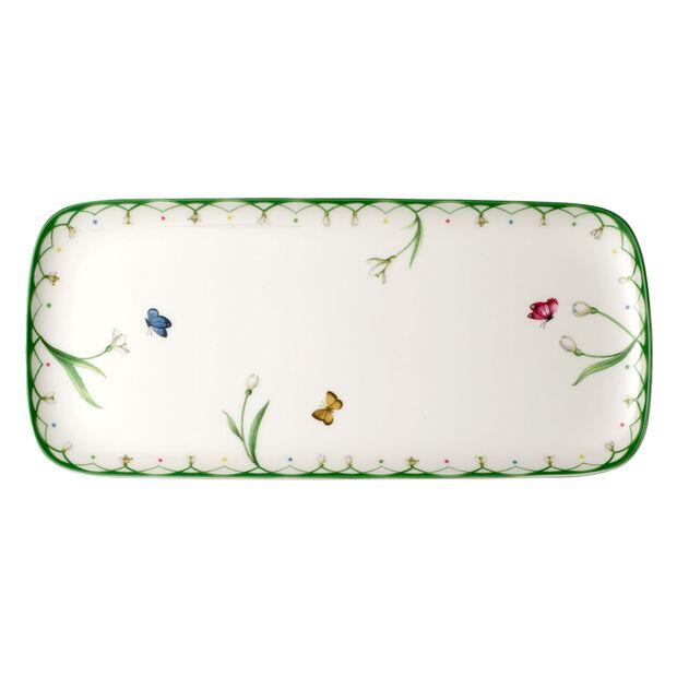 Colourful Spring rectangular cake plate 35x16 cm, , large