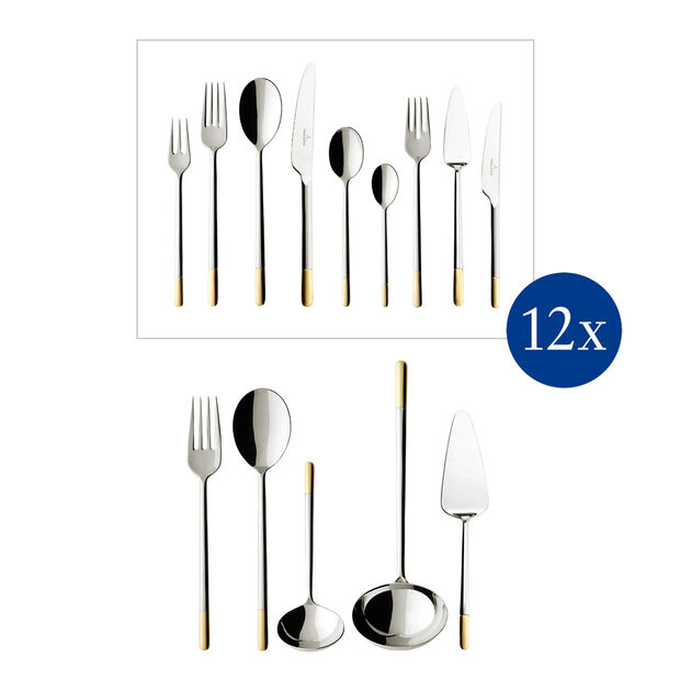 Ella partially gold-plated table cutlery 113 pieces, , large