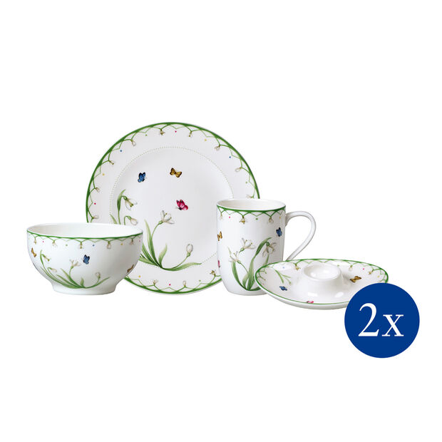 Colourful Spring breakfast set, for 2 people, 8 pieces, , large