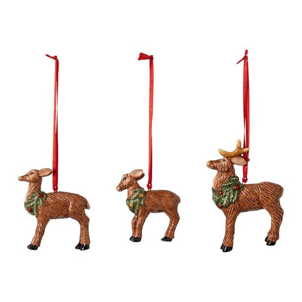 Nostalgic Ornaments ornament set deer family, 7 x 6 cm, 3 pieces, , large