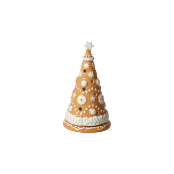 Winter Bakery Decoration small gingerbread tree, brown/white, 8 x 8 x 15 cm