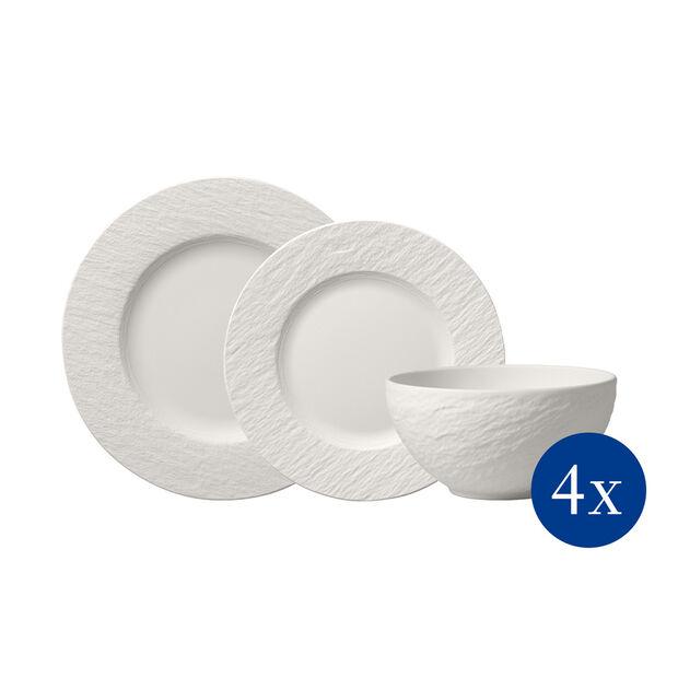 Manufacture Rock blanc Plate set, 12 pcs, 4 people, , large