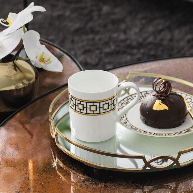 MetroChic coffee mug, 11 x 8 x 9 cm, white/black/gold, , large