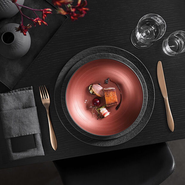 Manufacture Rock Glow flat bowl, copper/black, , large