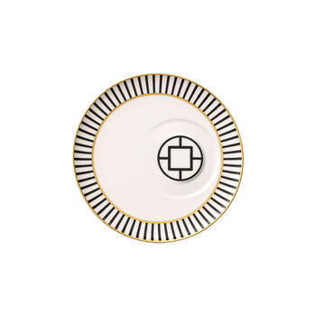 MetroChic tea cup saucer, 18.5 cm diameter, white/black/gold