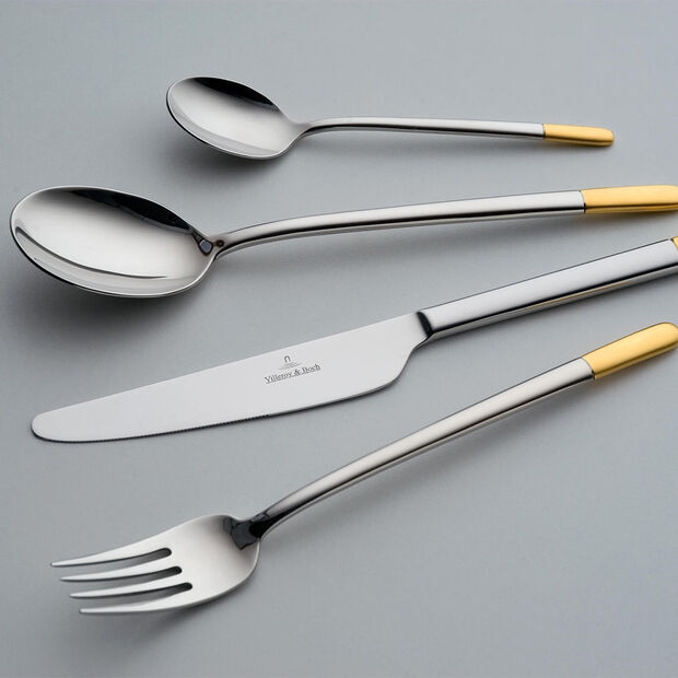 Ella partially gold-plated table cutlery 24 pieces 42 x 27 x 5 cm, , large