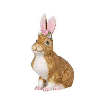 Easter Bunnies Bunny large, seated with flower wreath 14x9x19cm