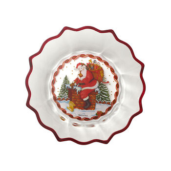 Christmas Glass Accessories bowl Santa on roof, clear/multicoloured, 25 cm, 850 ml