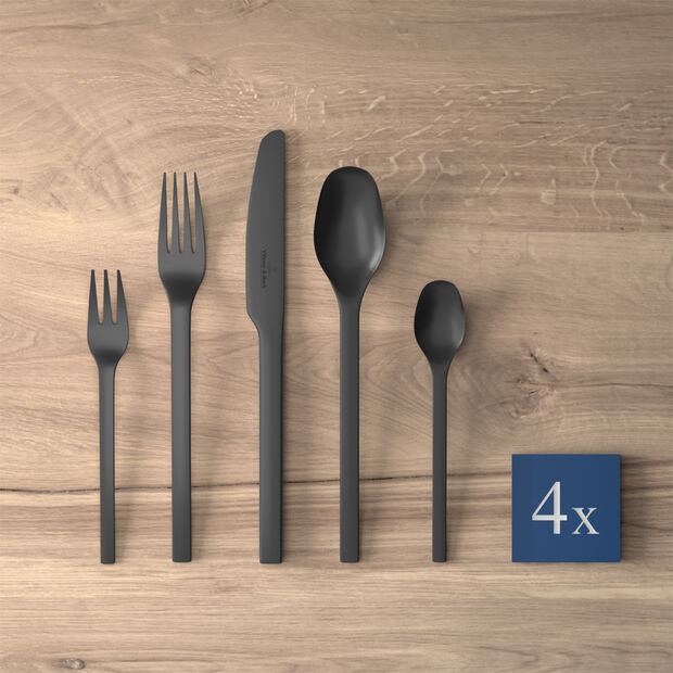 Manufacture Rock table cutlery, for 4 people, 20 pieces, Black, , large