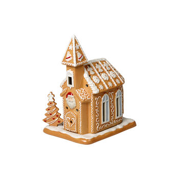 Winter Bakery Decoration gingerbread church, brown/white, 17 x 13 x 20 cm