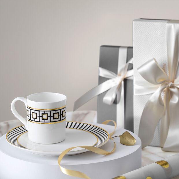 MetroChic coffee cup, 210 ml, white/black/gold, , large