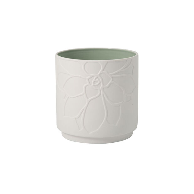 it's my home flowerpot Socculent, green/white, , large