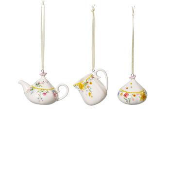 Spring Awakening coffee set ornaments, 3 pieces, yellow/multicoloured