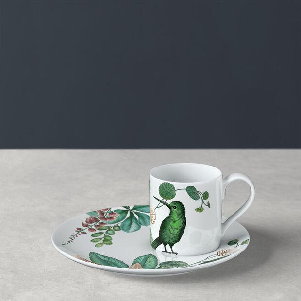 Avarua mocha/espresso cup & saucer, 80 ml, white/multicoloured, , large